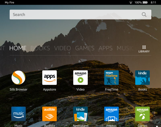 android versions amazon fire10 homescreen