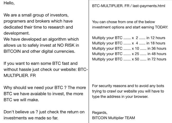 bitcoin multiplier scam