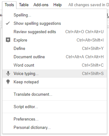 Google Doc's Voice Typing: A Secret Weapon for Productivity google docs voice typing menu
