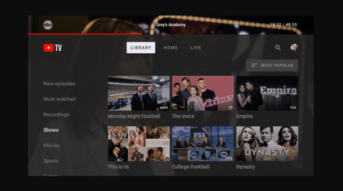YouTube TV Gets Its Own Dedicated Television App new youtube tv app screenshot