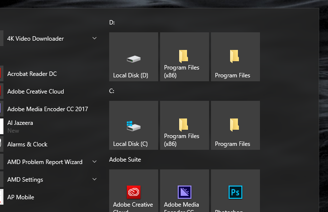 windows 10 start menu customizations productivity