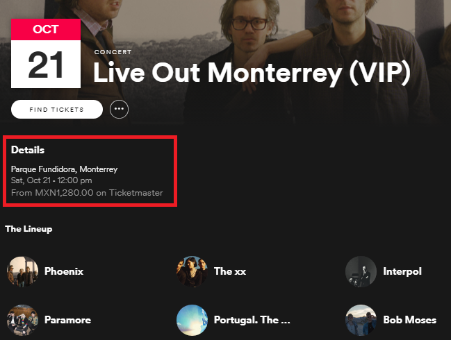 Use Spotify to See If Your Favorite Bands Are Playing Nearby spotify concert price