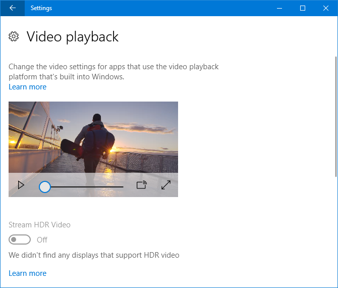 9 New Settings Features in the Windows 10 Fall Creators Update video playback