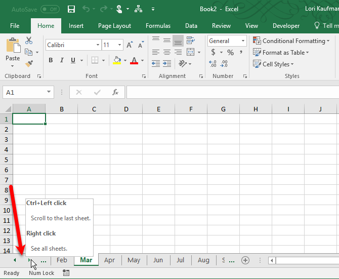 scroll through excel worksheet tabs