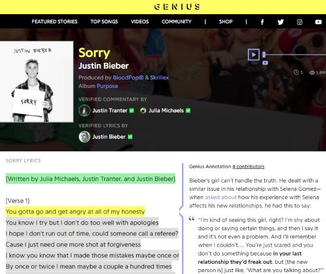 The Internet Music Guide for the Audiophile 10 Genius Lyrics Annotation