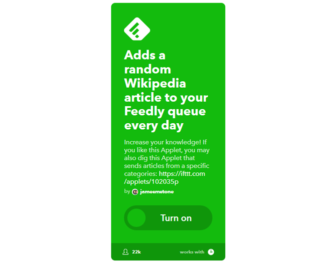 The ultimate ifttt guide use the webs most powerful tool like a pro applet 8 daily wikipedia article sent to feedly fandeluxe