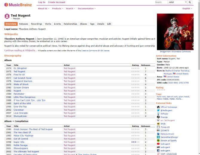 The Internet Music Guide for the Audiophile 11 MusicBrainz Page