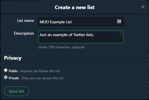 what is twitter create new list
