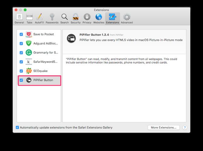 PiPifier для Safari на Mac