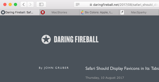 Safari tabs with favicons displayed
