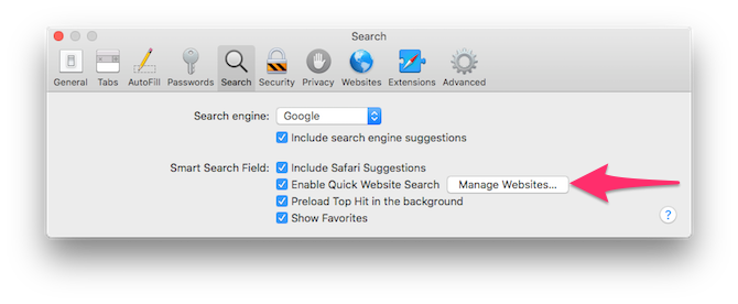 Enabling quick website search in Safari's settings