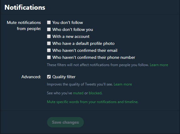 what is twitter notification options