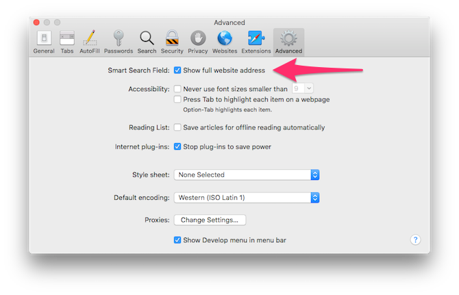 The Advanced tab of Safari's Preferences