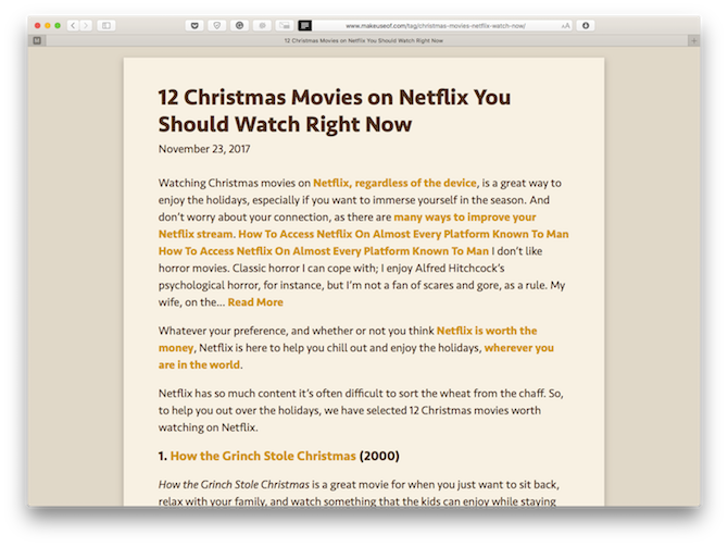 A website displayed in Safari's Reader view