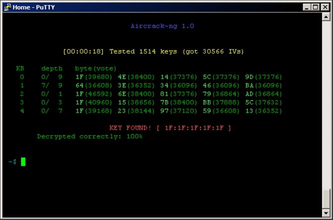 How Easy Is It to Crack a Wi-Fi Network? Aircrack Screenshot
