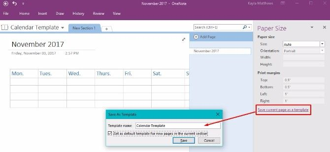How to create a onenote calendar template for Onenote section template