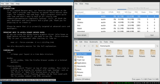 window manager as desktop environment linux