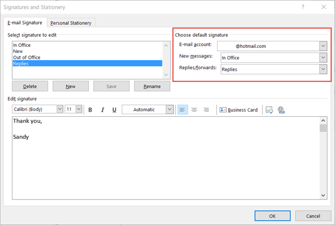 configure your outlook email signature