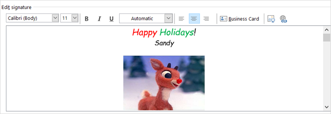 holiday outlook email signature