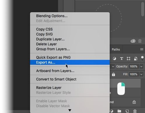 Right-Click-PhotoShop Layer