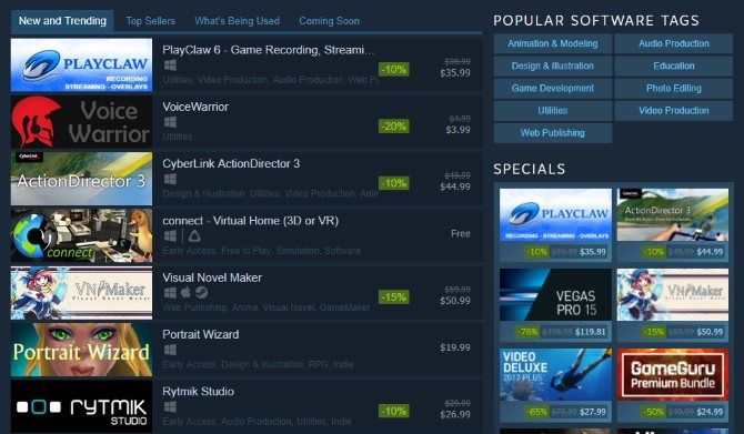 Did You Know Steam Sells More Than Just Games? Steam Software Page