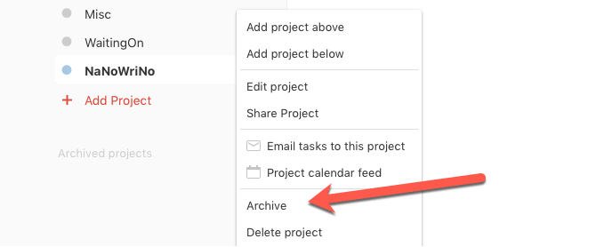 missed todoist features archive projects