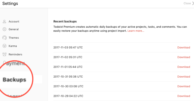 missed todoist features backups