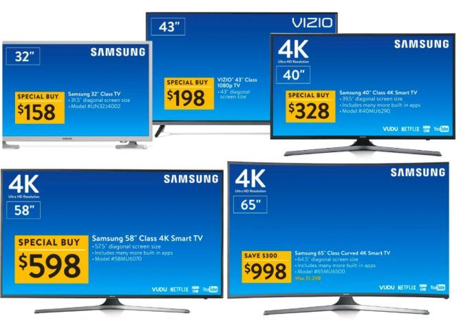 Best Walmart Black Friday Deals Walmart BlackFriday TVs e1510500666891