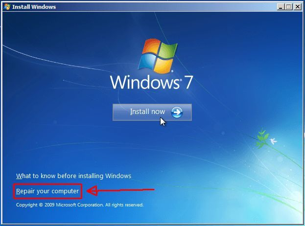 Écran de démarrage Windows 7