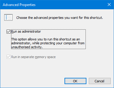 Windows 10 Advanced Shortcut Properties