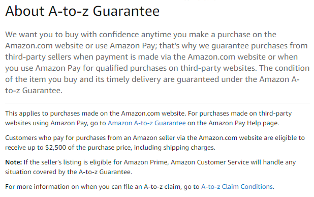 amazon a to z guarantee