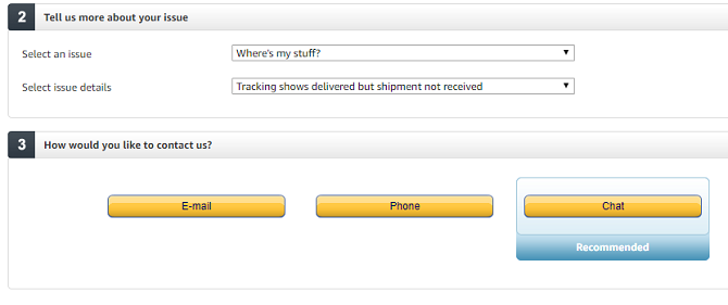 Amazon where's my stuff screen