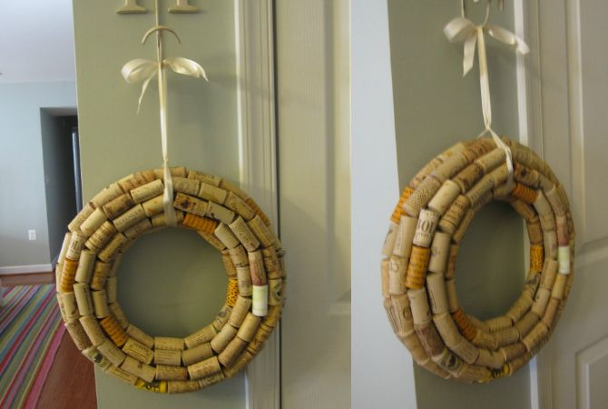 10 christmas decorations you can easily make from recycled materials cork wreath 670 - Recycled Christmas Decor