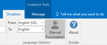 Manual Punctuation option in the Dictation tab of Outlook