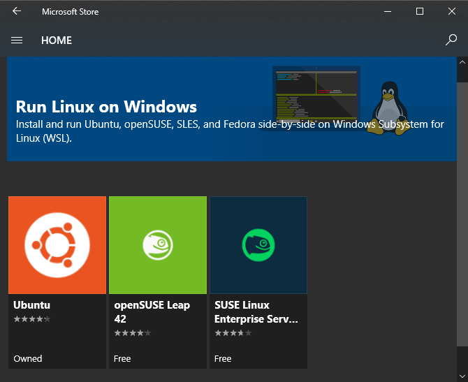 Windows 10 Install Linux from Store