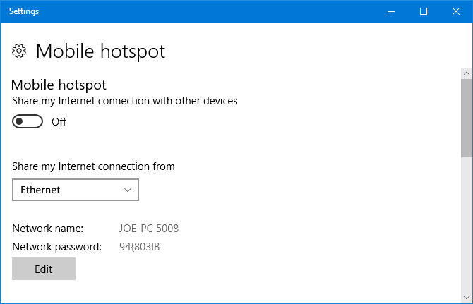 Windows 10 Mobile Hotspot Settings