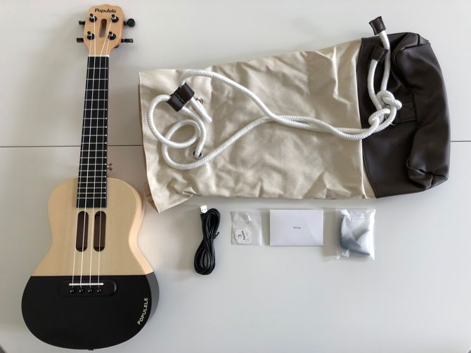 the complete populele kit with ukulele picks strings capo and case