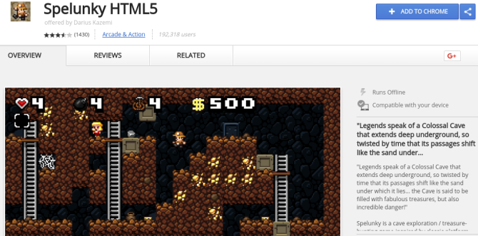 20 Fun Things to Do Online When You're Bored at Work spelunky html5 screenshot