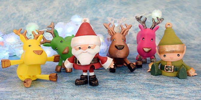 3D printed Christmas figurines