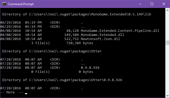 Paginated Command Prompt output