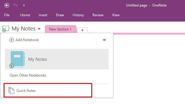 OneNote Quick Notes