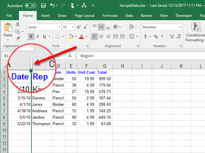 how to manage columns in excel