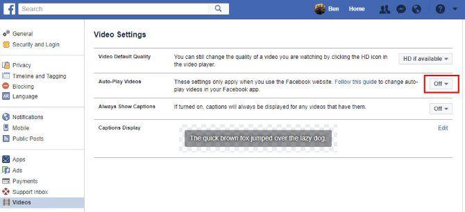 Facebook отключить автоматическое воспроизведение видео