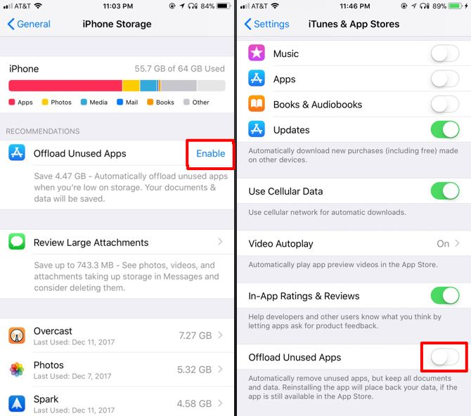 how to delete offload apps save space iphone ipad