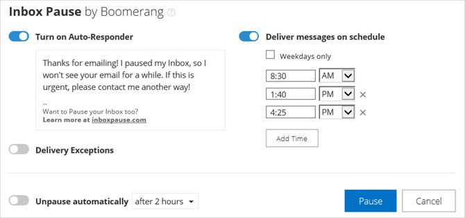 Boomerang Outlook Add-In for Inbox Pause