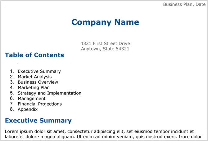 Google Docs business plan template