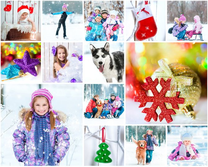Winter Family Photo Collage
