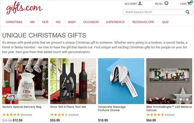sites buy unique christmas gifts for everyone