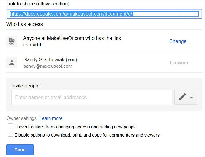 Google Docs for business document advanced sharing