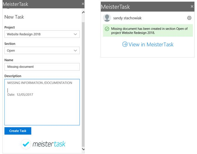 MeisterTask Outlook Project Management Add-In